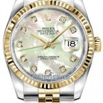 Rolex 116233 White MOP Diamond Jubilee  Datejust 36mm St