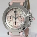 Cartier Pasha Chronograph Pink MOP Dial Steel 35mm Automat