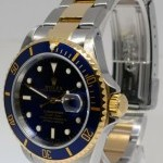 Rolex Submariner 18k Gold  Steel Mens Watch BoxPapers 16