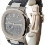 Patek Philippe Nautilus 18k White Gold Mens Automatic Watch BoxPa