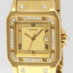Cartier Santos 18k Yellow Gold Diamond Automatic Ladies Wa