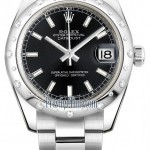 Rolex 178344 Black Index Oyster  Datejust 31mm Stainless