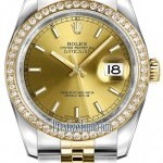 Rolex 116243 Champagne Index Jubilee  Datejust 36mm Stai