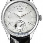 Rolex 50529 Silver  Cellini Dual Time 39mm Mens Watch