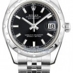Rolex 178344 Black Index Jubilee  Datejust 31mm Stainles