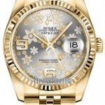 Rolex 116238 Silver Floral Jubilee  Datejust 36mm Yellow