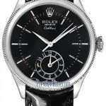 Rolex 50529 Black  Cellini Dual Time 39mm Mens Watch
