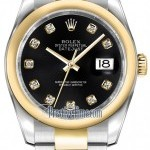Rolex 116203 Black Diamond Oyster  Datejust 36mm Stainle