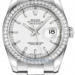 Rolex 116244 White Index Oyster  Datejust 36mm Stainless