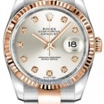 Rolex 116231 Silver Diamond Oyster  Datejust 36mm Stainl