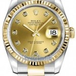 Rolex 116233 Champagne Diamond Oyster  Datejust 36mm Sta