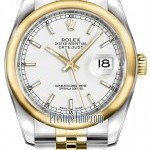 Rolex 116203 White Index Jubilee  Datejust 36mm Stainles