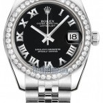 Rolex 178384 Black Roman Jubilee  Datejust 31mm Stainles