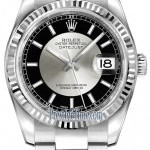 Rolex 116234 BlackSilver Index Oyster  Datejust 36mm Sta