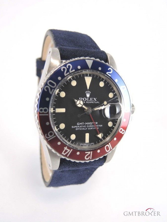 Rolex Gmt Master 1675 Pepsi Steel Case On A Leather Band