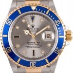 Rolex Mens Used  Submariner 16613 Serti Diamond Dial