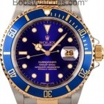Rolex Used  Submariner Steel  Gold Blue Face 16613