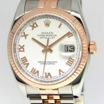 Rolex Datejust 18k Pink Gold Stainless Steel White Roman