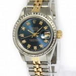 Rolex Ladies Datejust 18k Yellow Gold Stainless Steel Bl