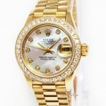 Rolex Ladies Datejust 18k Yellow Gold MOP Diamond Automa