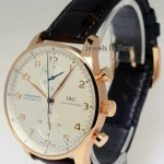 IWC 3714 Portuguese Chronograph 18k Rose Gold Watch Bo