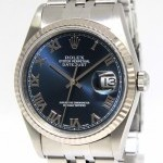 Rolex Datejust Stainless Steel 18k Gold Bezel Blue Roman