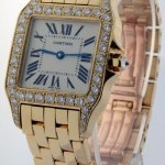 Cartier Santos Demoiselle 18k Gold  Diamond Mid Size Watch