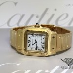 Cartier Santos Date 18k Yellow Gold White Dial Automatic M