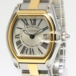 Cartier Roadster 18k Yellow Gold Steel Silver Dial Ladies