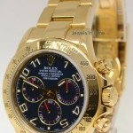 Rolex Daytona 18k Yellow Gold Blue Dial Watch BoxPapers