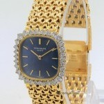 Patek Philippe Vintage 18k Yellow Gold Diamond Bezel Blue Dial La