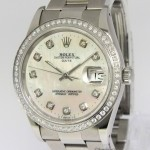 Rolex Date Stainless MOP Diamond DialBezel Ladies Midsiz