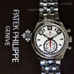 Patek Philippe Annual Calendar Steel Mens Chronograph Watch BoxPa