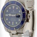 Rolex Submariner Mens 18K White Gold Blue Ceramic Mens W
