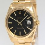 Rolex Date 18k Yellow Gold Black Dial Mens Watch 15038
