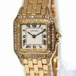 Cartier Ladies Panthere 18k Yellow Gold Diamond Bezel Doub