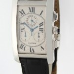 Cartier Tank Americaine Chronograph 18k White Gold Mens Wa