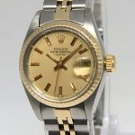 Rolex Date 14k Yellow Gold Steel Champagne Dial Ladies W