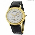 Audemars Piguet Mens Millenary 18k Yellow Gold Dual Time Power Res