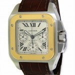 Cartier Santos 100 XL Chronograph 18k Yellow Gold Stainles