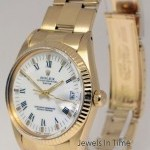 Rolex Oyster Perpetual Date 18k Yellow Gold Mens Vintage