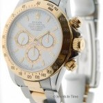 Rolex Mens Daytona 16523 U 18k Gold  Steel White Dial Ze