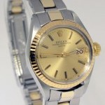 Rolex Ladies Date 14k Yellow Gold  Steel Watch Oyster Br