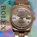 Rolex Day-Date 18k Rose Gold Diamond Dial Mens Watch Box