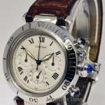 Cartier Pasha 38mm Stainless Steel Chronograph Mens Watch