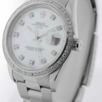 Rolex Date Steel Mens Automatic Watch Mother of Pearl Di