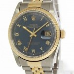 Rolex Mens Datejust 18k Yellow Gold Stainless Steel Blue