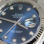 Rolex Datejust Stainless Steel 18k Gold Blue Diamond Dia