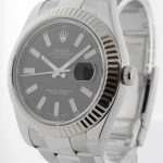 Rolex Datejust II Stainless Steel 18k White Gold Mens Wa