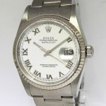 Rolex Mens Datejust Stainless Steel White Roman Dial Aut